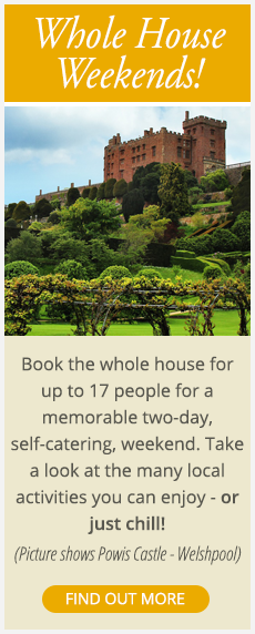 Book the whole of Wollaston Lodge Shrewsbury Shropshire for up to 17 people for a great weekend - take a look at the local activities - click here to find out more